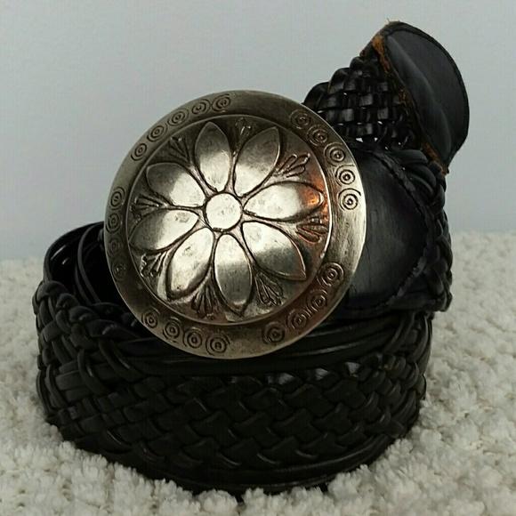 Black Braided Leather Silver Concho Buckle Belt XL